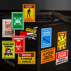 Magnetic Zombie Warning Signs