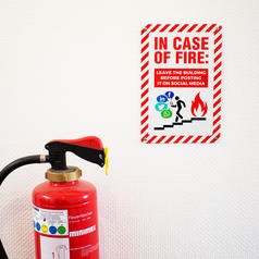 Tin Sign In Case Of Fire